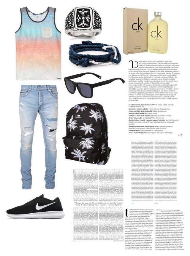 """Summer boy"" by loekievanede on Polyvore featuring Balmain, Univibe, NIKE, MIANSAI, Lacoste, Calvin Klein, Vans, Oris, men's fashion en menswear"