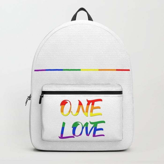 Buy One Love Backpack by scardesign. #typographic #onelove #lgbt #pride #couples #popular #valentine #romance #pop #rainbowflag #rainbow #flag #colorful #life #love #loveislove #gay #lesbian #trans #bag #backpack #travel #gym #yoga  #gymbag  #pride #festiival #pride #cool #awesome #valentinesdaygifts #valnetinesday #family #onlineshopping #giftsforhim #giftsforher #style #tshirtfashion #39 #gaypride #lesbianpower #feminist #march #shopping #tshirtdesign