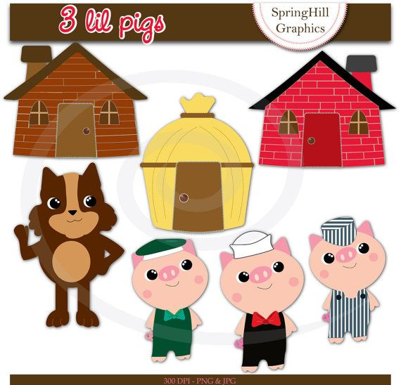 Instant Download Three Lil Pigs Digital Clip Art Web Design, Card Making, Scrapbooking - Personal and Commerical Use