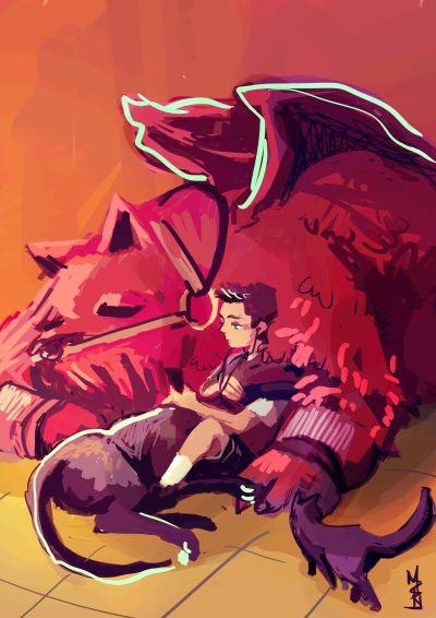 Damian Wayne and Goliath