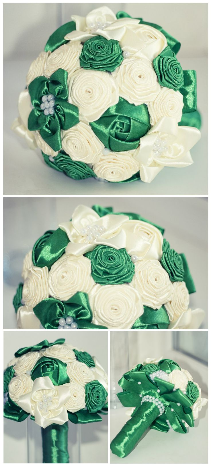 Wedding / Silk roses / Bridal Bouquet / Green&Beige / Fabric Flowers