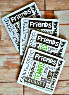 Sticker Shop Unlimited Tennis Coasters