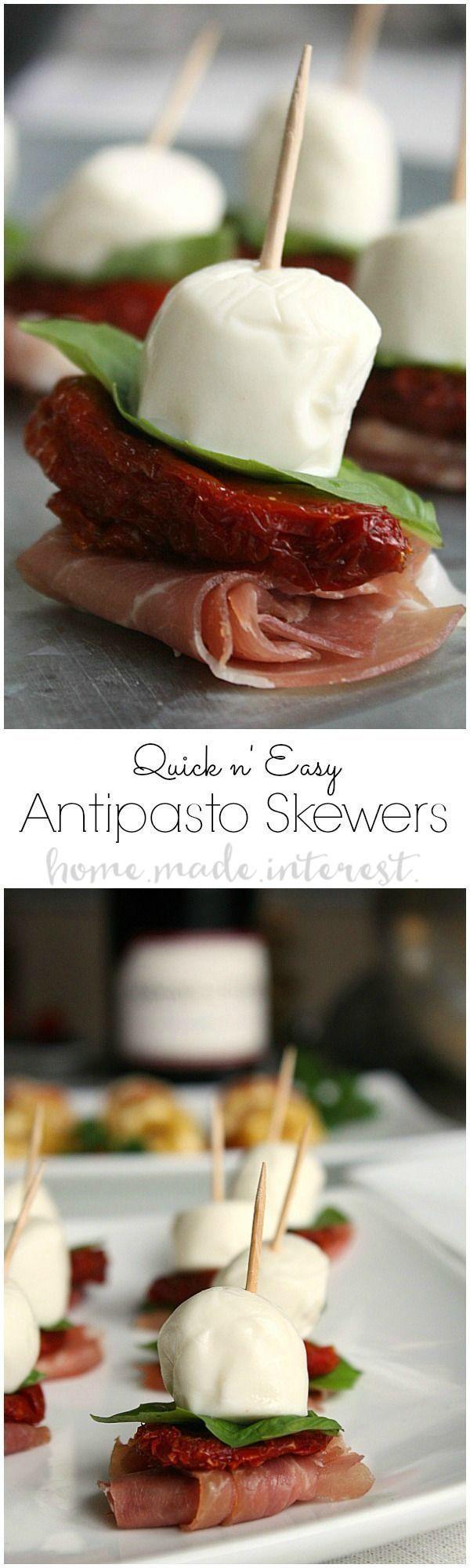 Diese Antipasto-Spieße lassen sich schnell herstellen. Sie sind perfekt für jede Dinnerparty