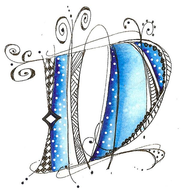 alpha letters -{ pen & ink, or art stamp? Or doodle + watercolor pencil or marker? Whatever-love it!}