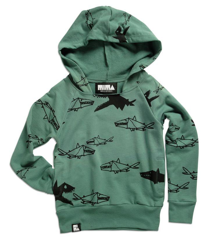 Mini And Maximus Hoody With Tiny Sharks