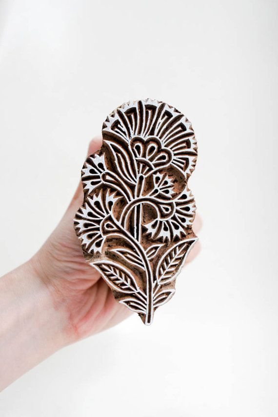 Hmm... Thinking on hand stamp fabrics? | Wood Stamp Flower TATAindianwoodstamps