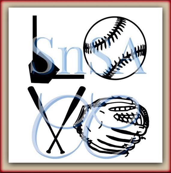 Baseball SVG Love Glove Base Bat Home Plate by SHAREnShareALIKE