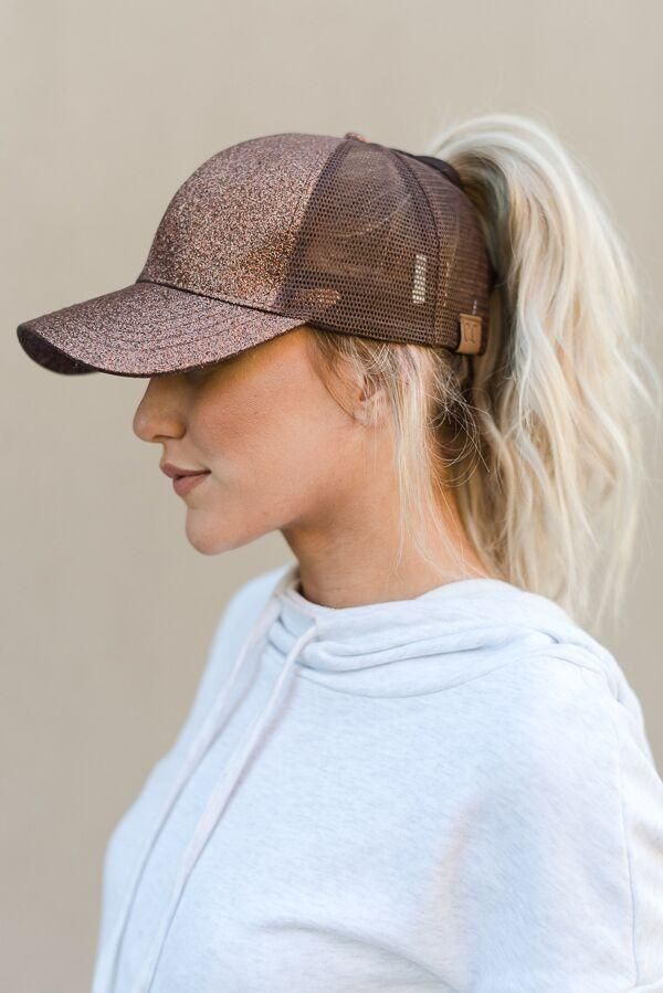 messy bun baseball cap - bronze
