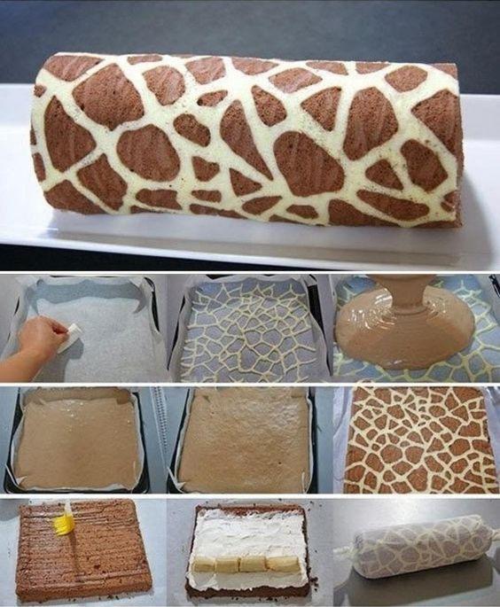 Fallait y penser! Un super motif à faire pour un gâteau à servir lors dune Fête sous le thème de la jungle, du zoo, ou du cirque! Tout le monde aime les girafes! Vous pourrez choisir votre recette de gâteau roulé préféré ou en trouver une sur le net!