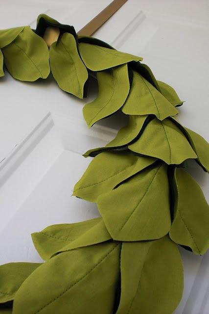 Leafy wreath tutorial - dollar store crafts - looks like thos lemon leaf wreaths.