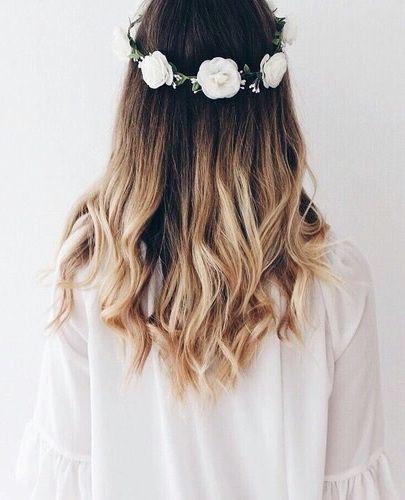 ombre + loose curls + flower crown