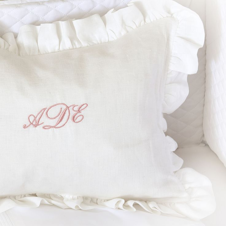Monogrammed Linen Pillow with Ruffle Edge