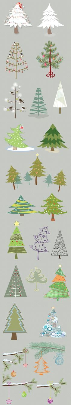 Christmas Trees Vector Set 1