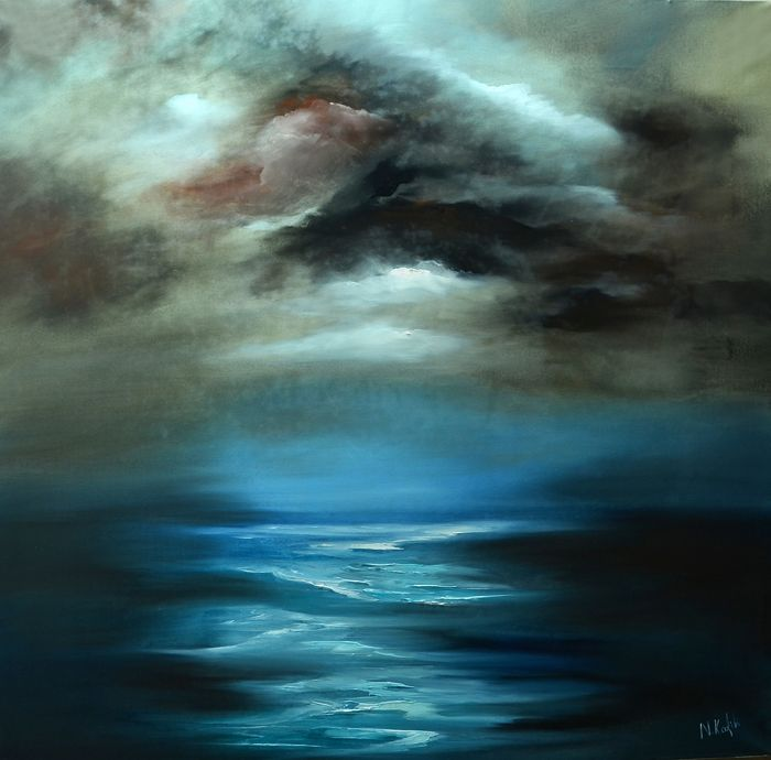 """Contemporary Abstract Seascape Painting-What Lies ahead  """"What Lies ahead"""" is a contemporary abstract sea painting  A secret and calm seascape.    The size of artwork is:  90 X 90 X 3 cm    The painting is made on high quality canvas, with the finest oil materials and it is varnished for protection against UV light and dust.  All paintings are signed"""