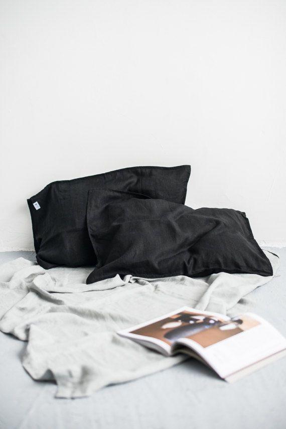 SPEDIZIONE GRATUITA   Set di 2 casi cuscino di lino nero, morbido cuscino di lino, fodere per cuscini di lino naturali