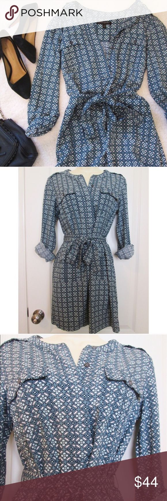 """Banana Republic 3/4 sleeve blue print shirt dress This stylish and modern shirt dress can be worn with stylish leggings and paired with a cute tote bag! There are four pockets, two on top and two below the waist. It is in perfect condition. Measurements: length: approx 32.5"""" arm length: 20"""" bust: 35"""" about size: marked as 6, but the drawstring on the waist which can be adjusted to fit your size. If you are short, this can be worn as a dress as well. 100% rayon. Bundle with just one other…"""