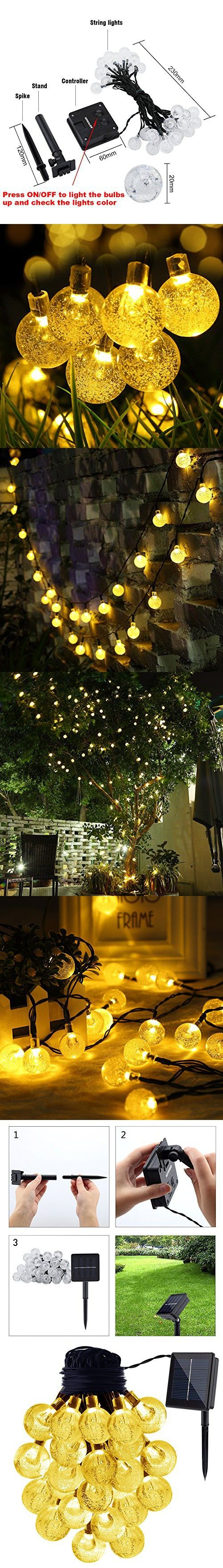GDEALER Solar String Lights 20ft 30 LED Warm White Crystal Ball Waterproof Outdoor String Lights Solar Powered Globe Fairy String Lights for Garden, Home, Landscape, Christmas Decoration (1)