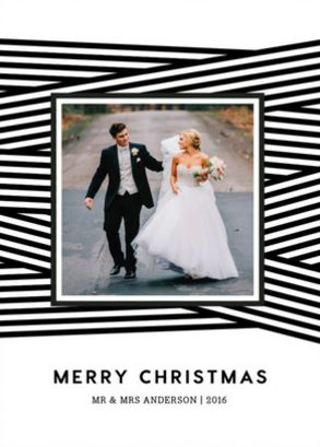Graphic Black and White 2016 Holiday Card Trend. Ribbon Wrapped by Minted artist Casey Hooper.