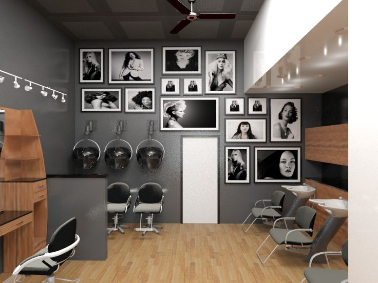 love this wall gallery in a salon