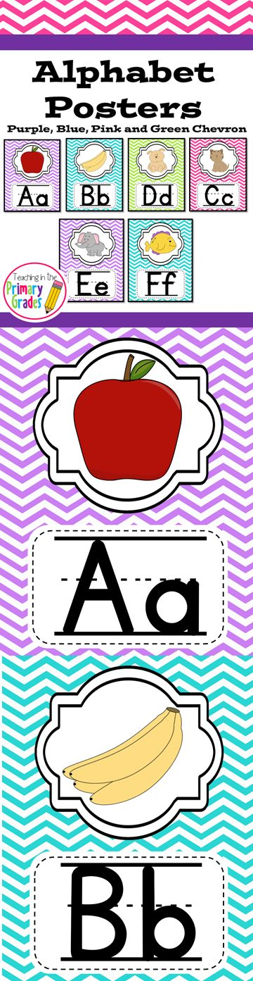 Practice handwriting with these cute chevron alphabet posters. $