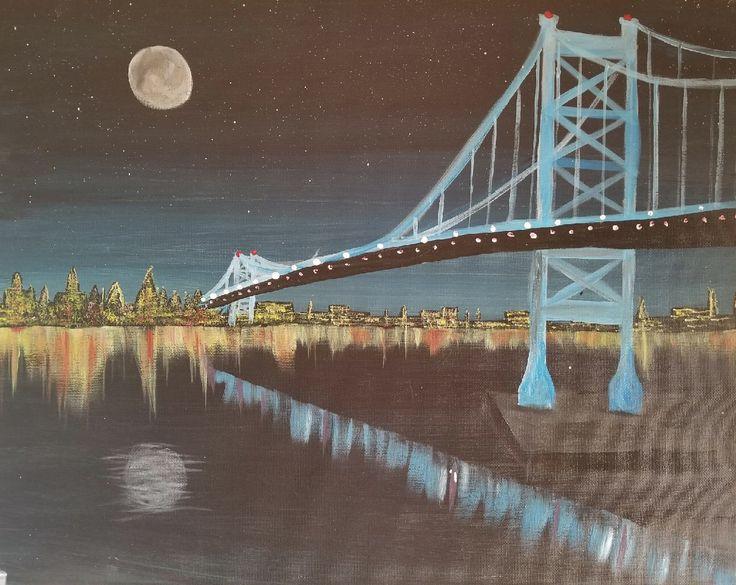 """Ben Franklin Bridge at Night"" Artist: Danielle DiTaranto"