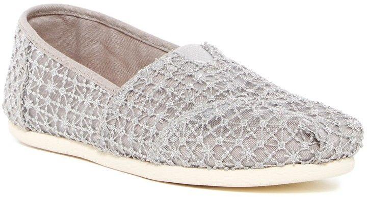 Toms Crochet Lace Alpargata Slip-On Flat