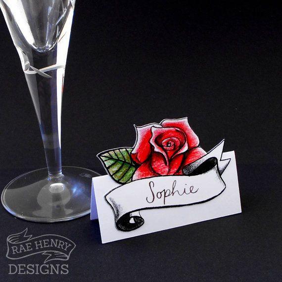 10 Rose Place Cards Tattoo Rockabilly Wedding by RaeHenryDesigns