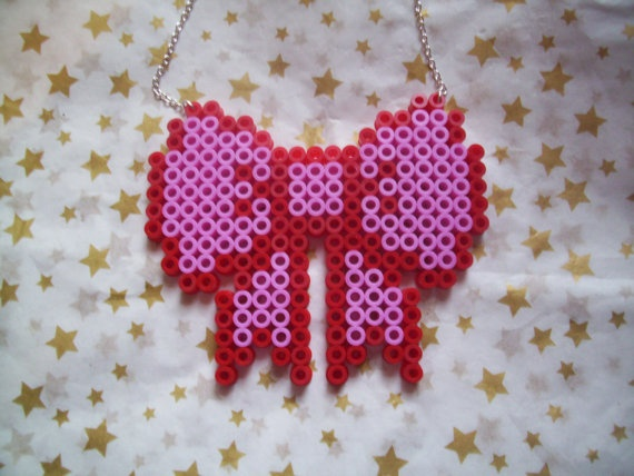 Pink Red Hama Bead Ribbon Bow 8 Bit Geek Cute Kawaii Rockabilly. $9.50, via Etsy.