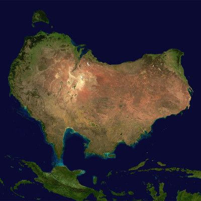 Which continent is that? Australia! This is Australia map, with north at the bottom side.