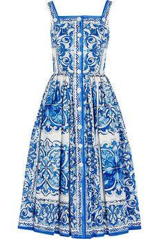 Dolce & Gabbana Printed cotton-poplin midi dress | NET-A-PORTER