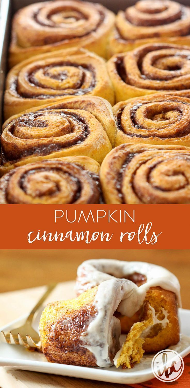 Delicious Homemade Pumpkin Cinnamon Rolls with Maple Cream Cheese Frosting #fall…