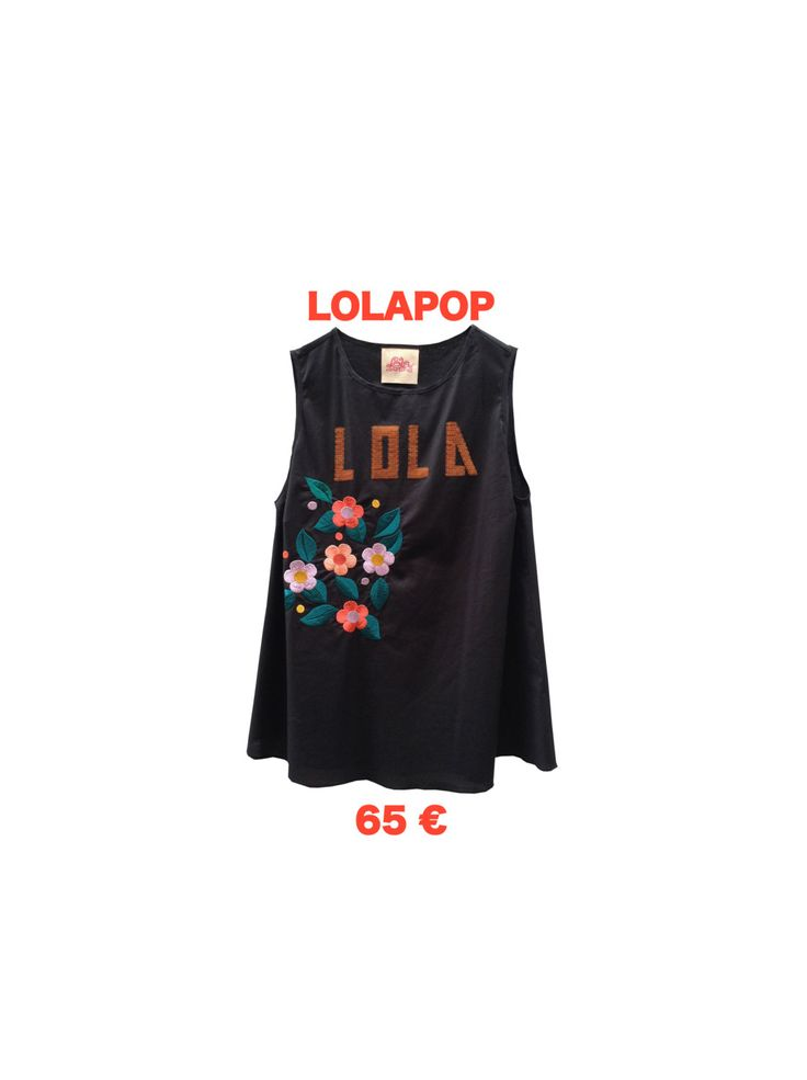 Top Embroidery Lola Paillettes Flowers Multicolor Threads LOLA DARLING Cotton Black Blouse Sleevless Tshirt Top Limited Editions Italy Made di loladarlingirl su Etsy