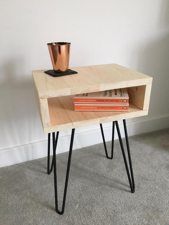 Scandi Side Table Perfect As A Side Table In A Living Room Or A Bedside Table Handbuilt In Sussex From Pine Table Side Table Wood Hairpin Leg Coffee Table