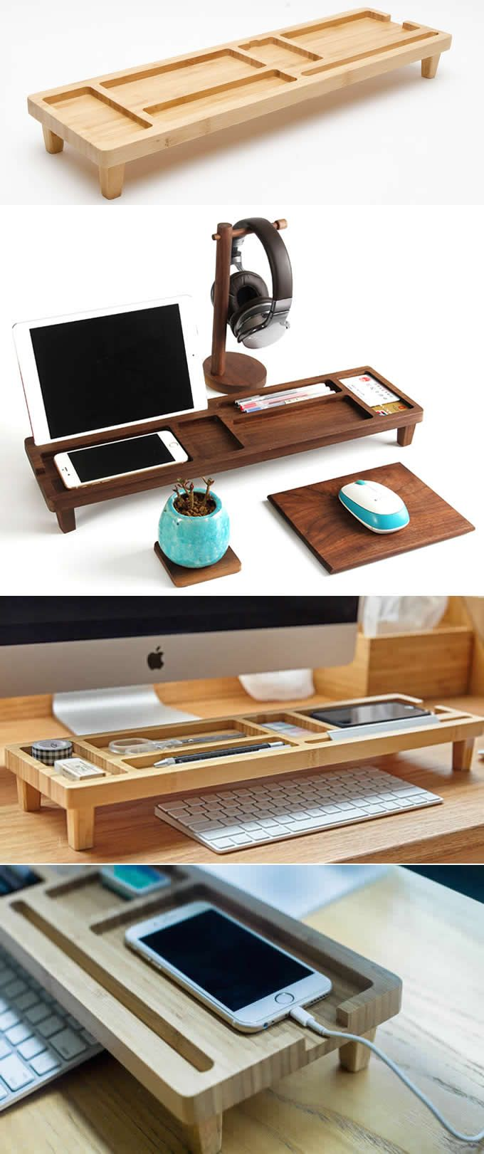 Wooden Stationery Desk Organizer Phone iPad Stand Holder Pen Holder  Over the Keyboard