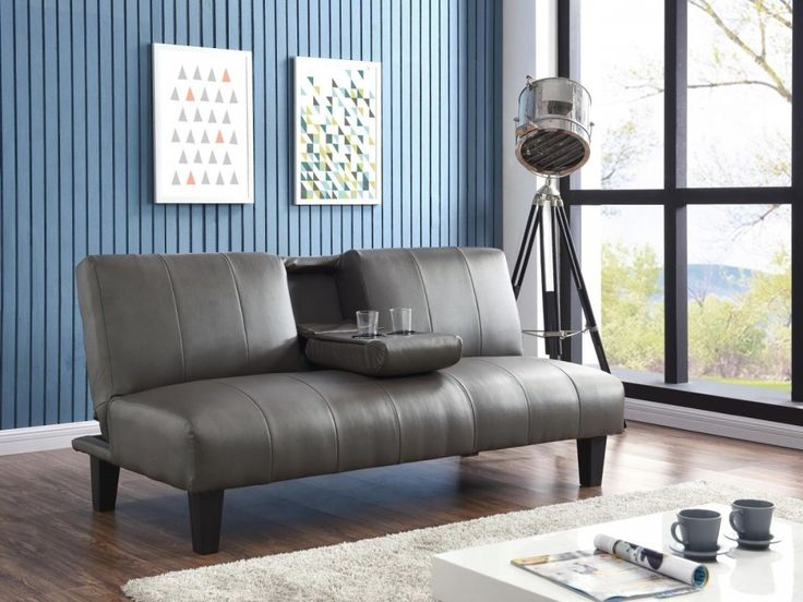 Designer Grey Faux Leather Sofa Bed W/ Cupholder - On Sale ...