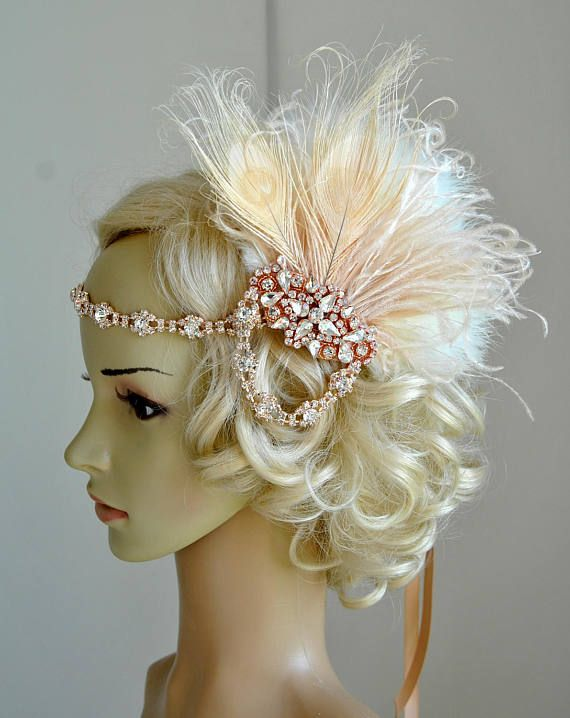 Rose Gold Fascinator Flapper Headband, Great Gatsby 1920s Headpiece Headband, Rose Gold Bridal Party Headpiece Champagne Feathers Hair Clip