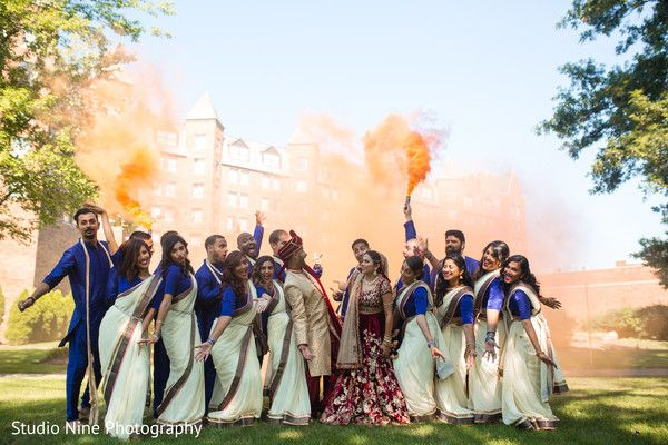 Super fun indian bridal party photography. http://www.maharaniweddings.com/gallery/photo/96705