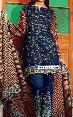 Navy Blue/Brown Lawn Suit | Buy Orient Pakistani Dresses and Clothing online in USA, UK | www.786shop.com