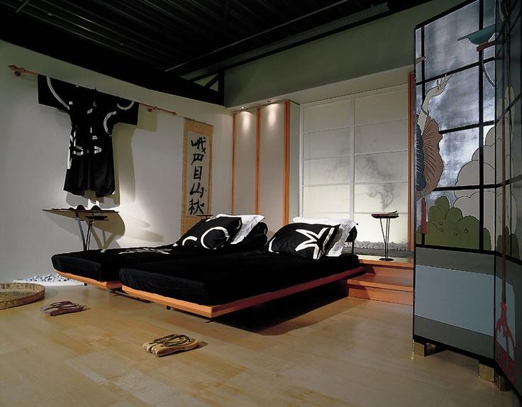 Japanse stijl in de slaapkamer. In deze Japanse stijl slaapkamer is ...