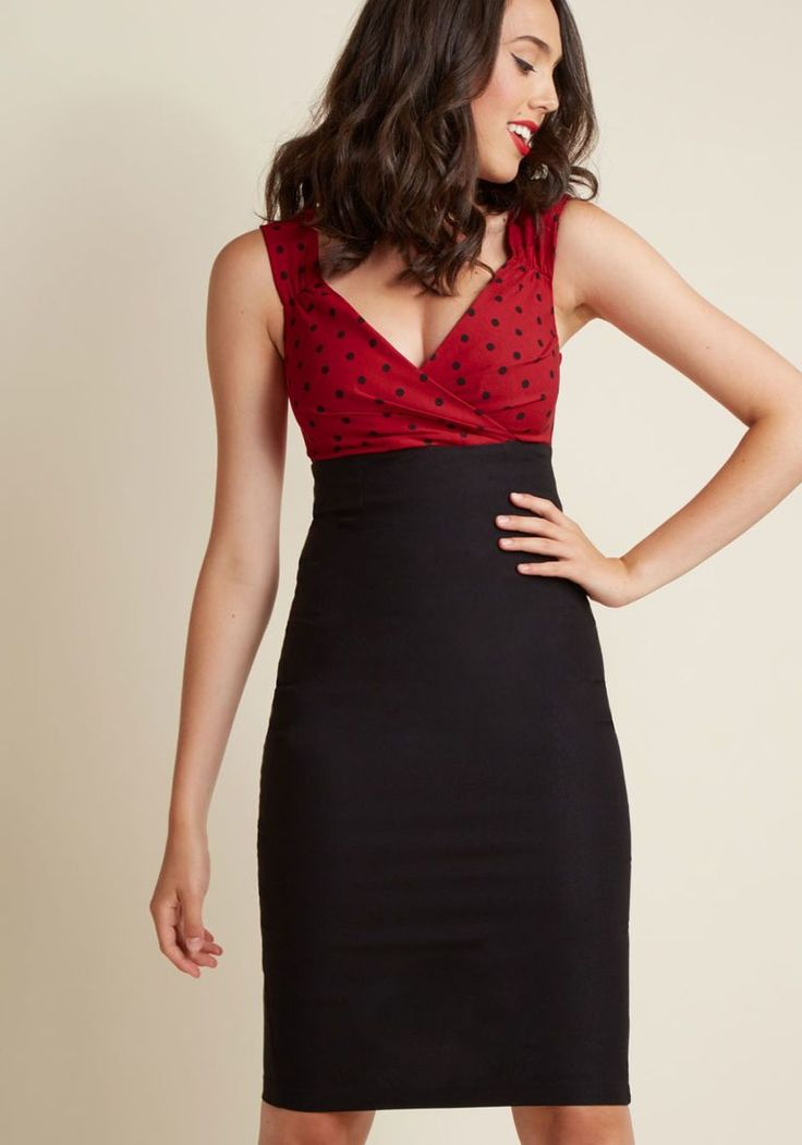 Lady Love Song Sheath Dress in Dotted Red & Black in L - Sleeveless Twofer Midi - Plus Sizes Available