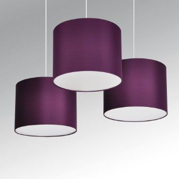 Set of 3 - Modern Purple Drum Pendant Ceiling Light Shades with Diffusers: Amazon.co.uk: Lighting
