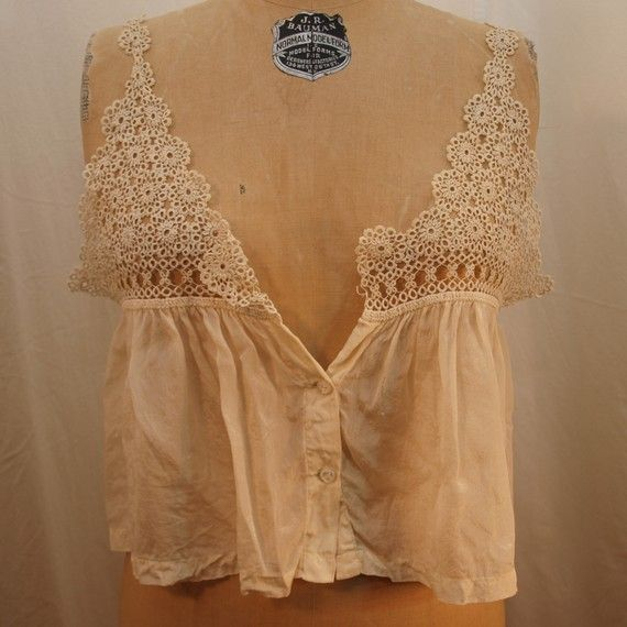 Antique Camisole Corset Cover with tatted by FineVintageLingerie, $38.00