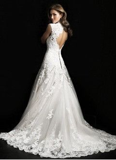A line princess v neck court train tulle lace wedding for Cyber monday wedding dresses