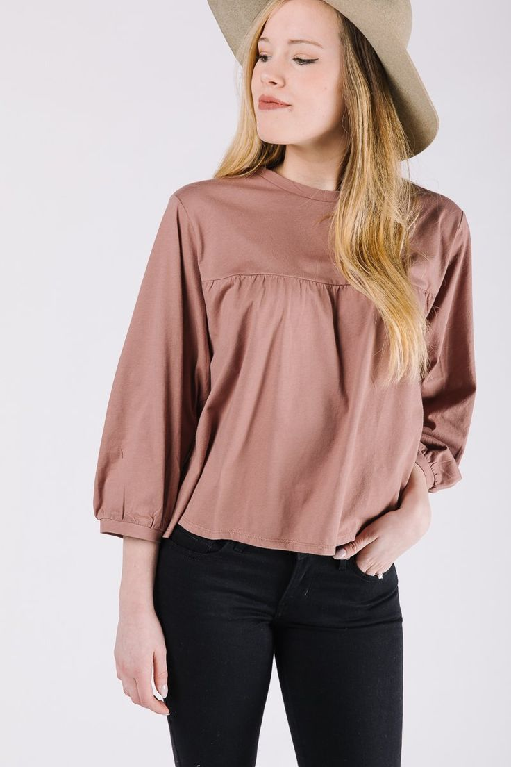 The Felicia Empire Blouse in Mauve