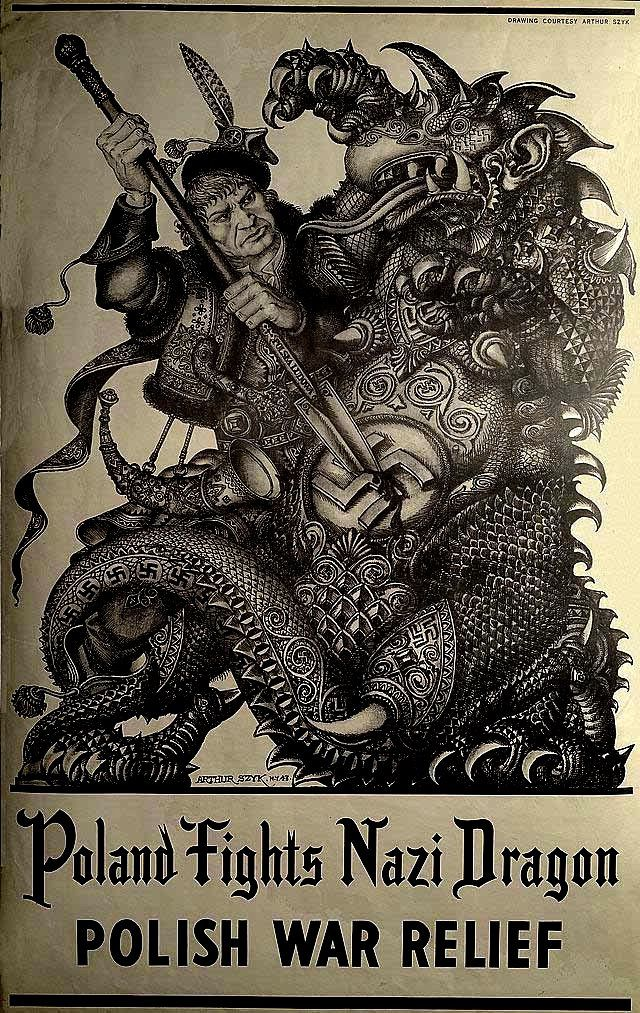 Artist: Arthur Szyk (1894-1951). 1943 Poland Fights Nazi Dragon - Polish War Relief   Halftone on paper. Szyk was a graphic artist, book illustrator, stage designer and caricaturist. He was born into a Jewish family in Łódź, in the part of Poland which was under Russian rule in the 19th century.