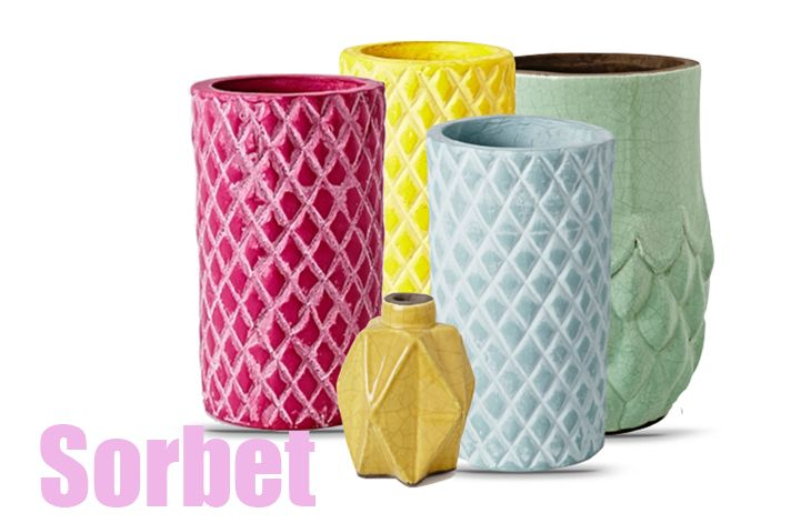 Ceramic vases in a sorbet assortment. Perfect for summer styling and introducing some fun colour. www.designarthouse.com.au