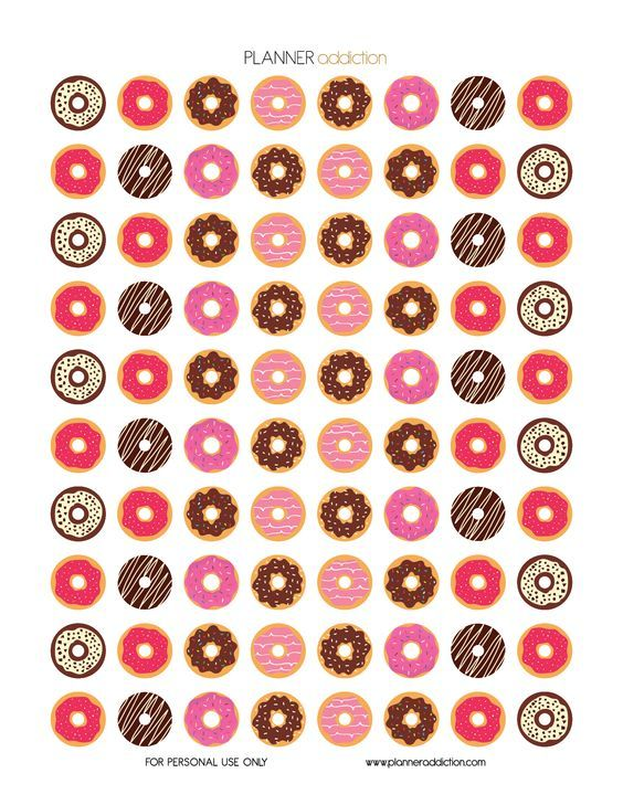 Free Printable Planner Stickers - Donuts: