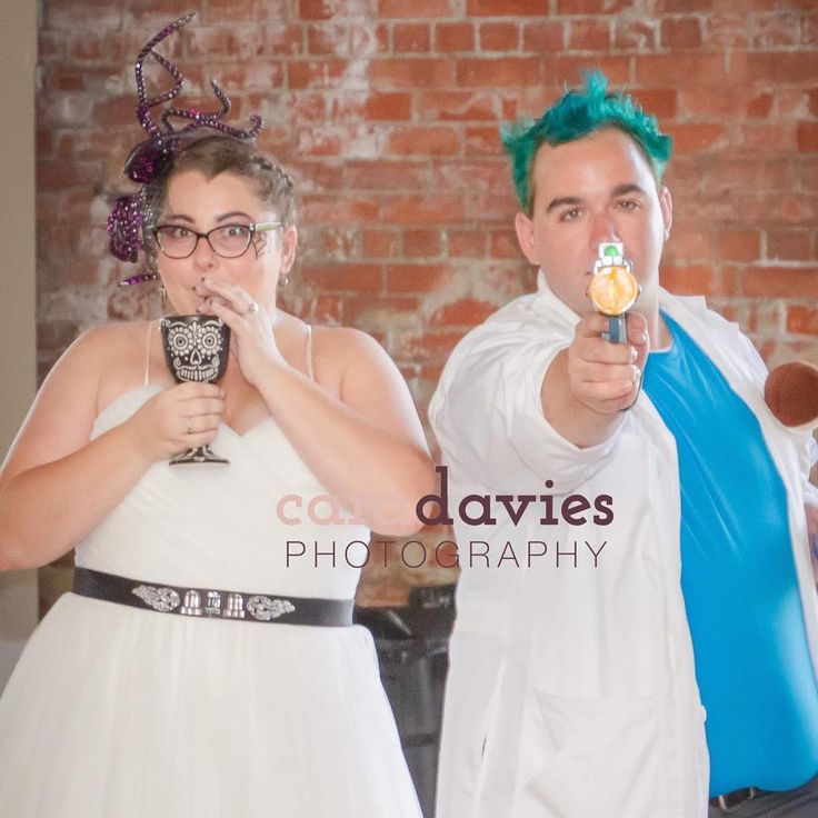 Ive been so overwhelmed with mini sessions (in a good way!) that Im only now getting the photos from this wedding uploaded and sent out to the bride and groom. I mean when you have an October wedding you kind of have to have costumes at the reception...  #louisvillephotographer #portraitphotographer #weddingphotographer #halloweencostume #octoberwedding #weddingreception #costume #reception #rickandmorty #brideandgroom #creativepreneur