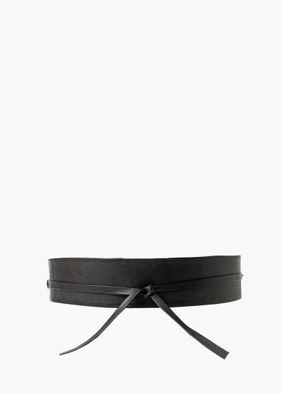 Leather obi belt   MANGO