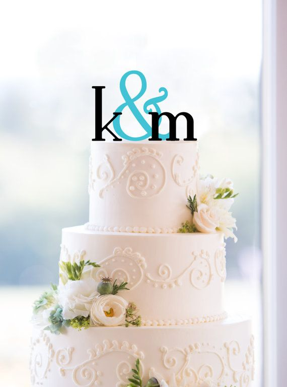 Monogram Wedding Cake Topper – Custom Two Initials and Ampersand Topper Available in 15 Colors, 12 Fonts and 6 Glitter Options on Etsy, $30.00